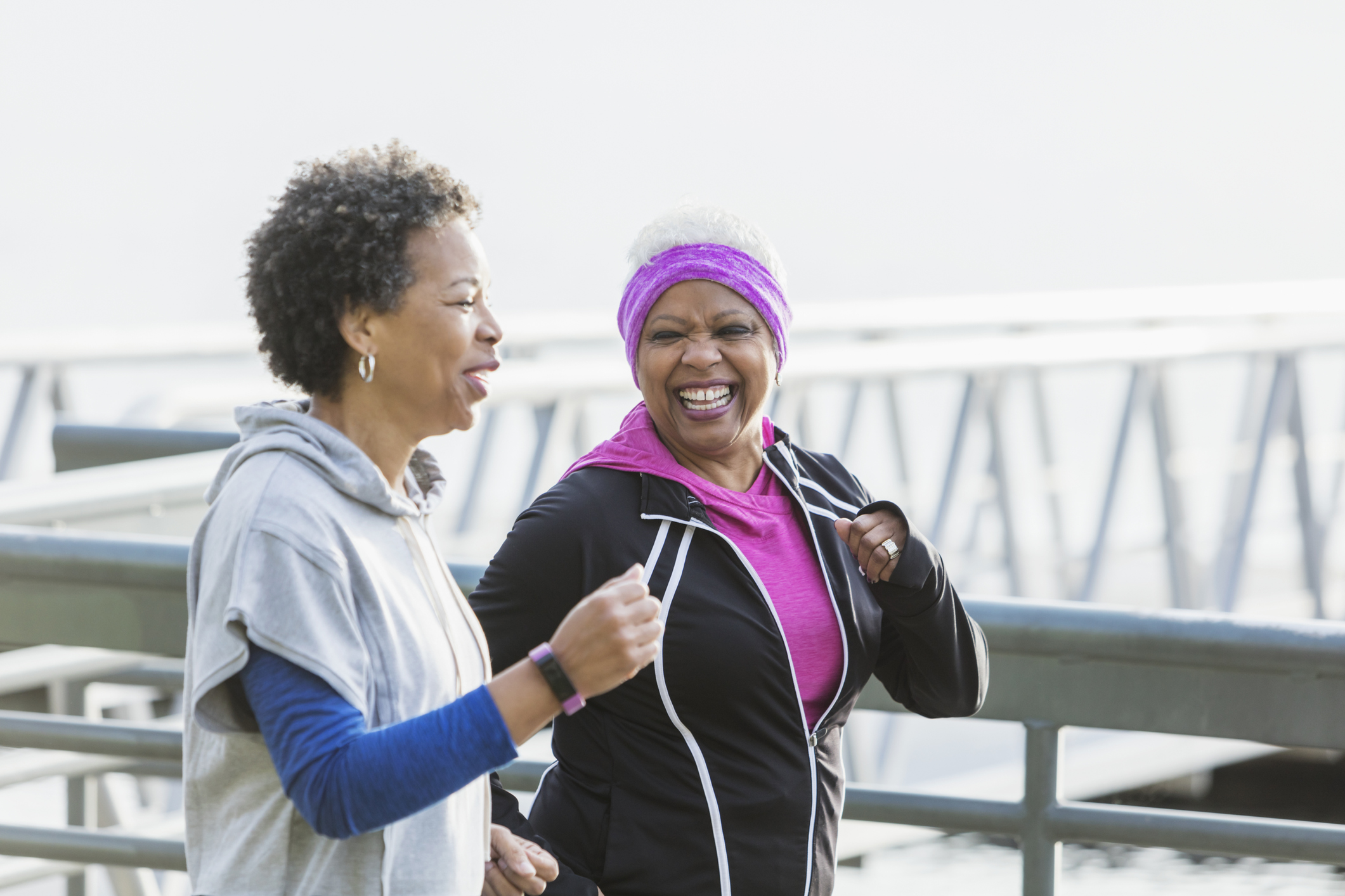 exercise and fitness two black women walking outdoors