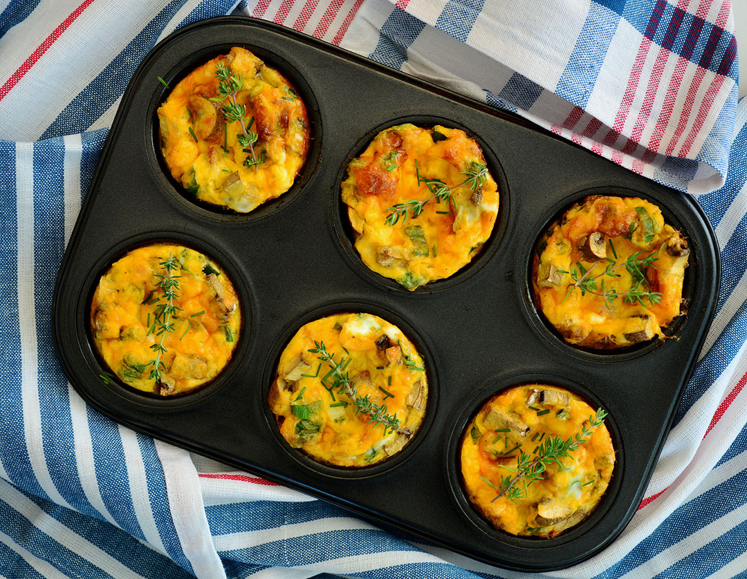 Denver Omelet breakfast muffins - survive the holidays by eating breakfast