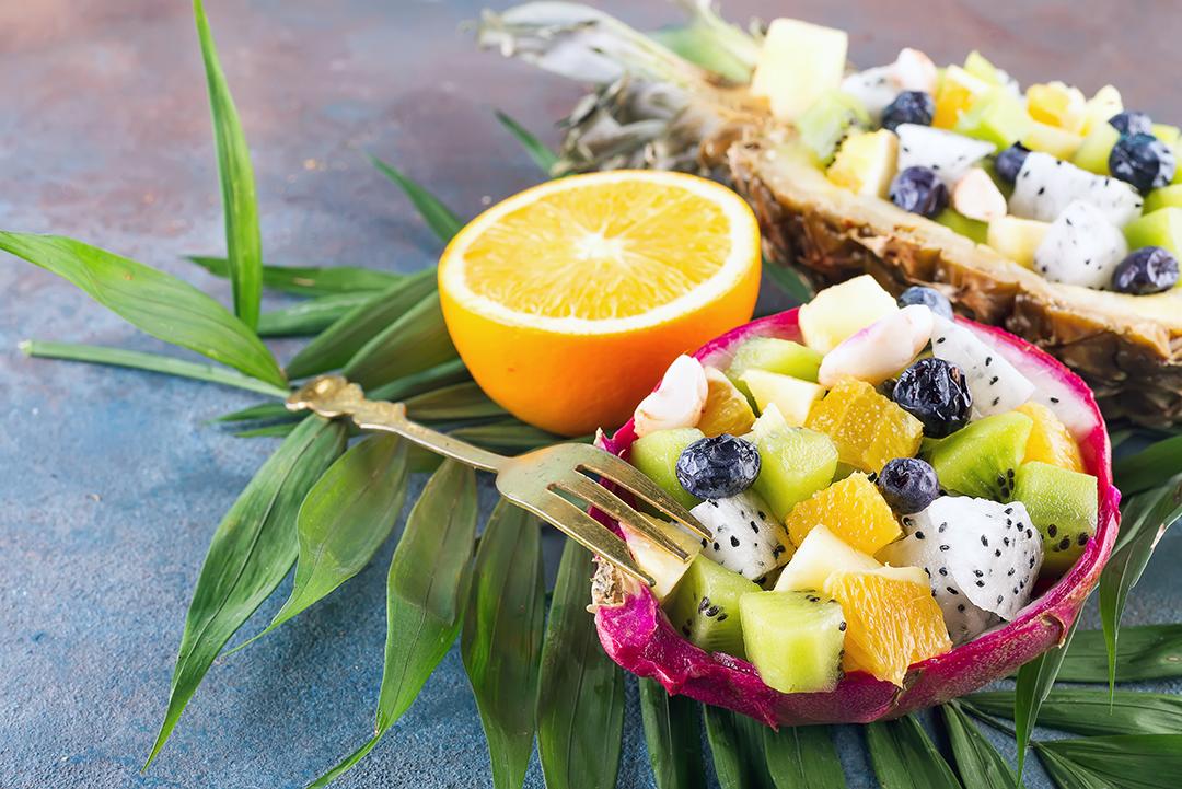 Exotic dragon fruit salad