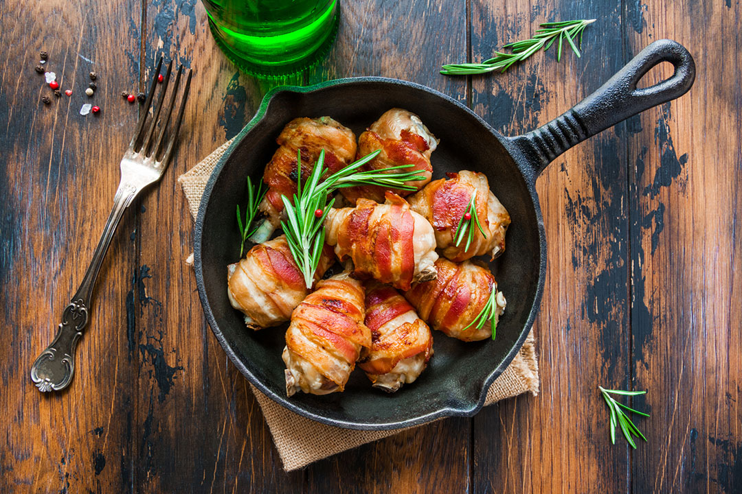 bacon wrapped baked chicken with lavender glaze