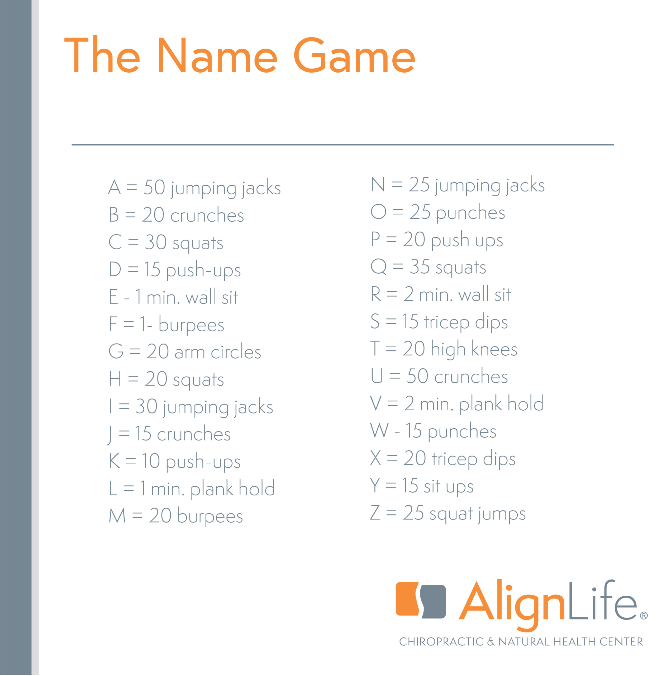 A to Z Name Game Workout