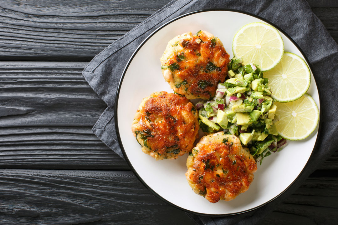 veggie-packed salmon cakes with avocado salsa