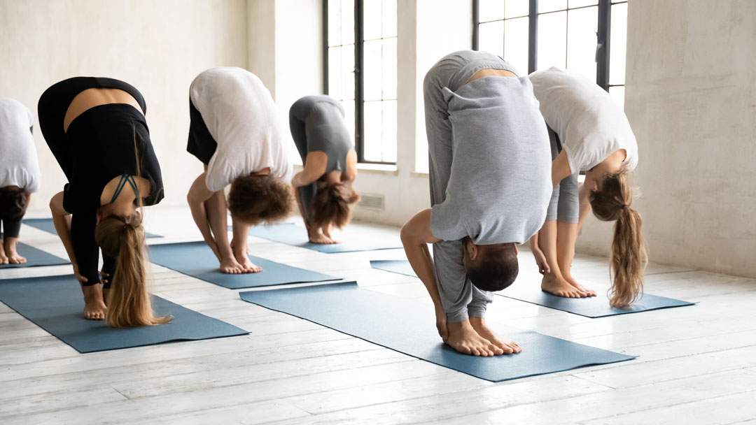 diverse yoga class doing Uttanasana (Standing Forward Bend)