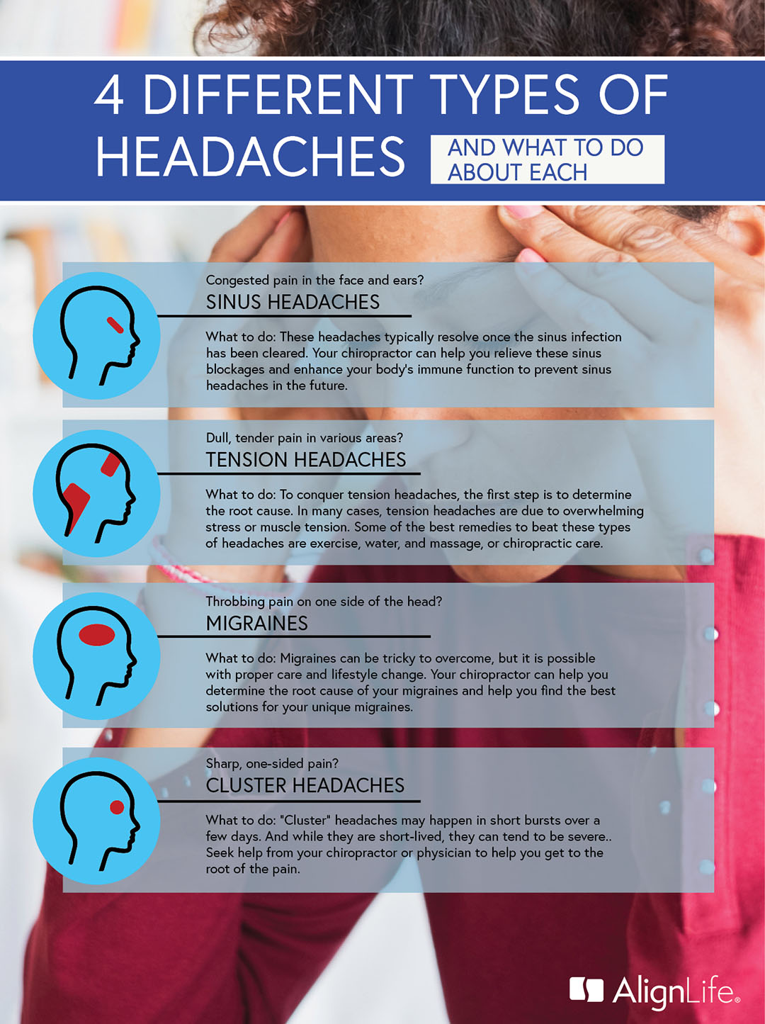 types of headaches and what to do - sinus, tension, migraine, cluster