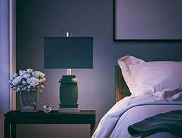 A close-up shot of modern bedroom at night.