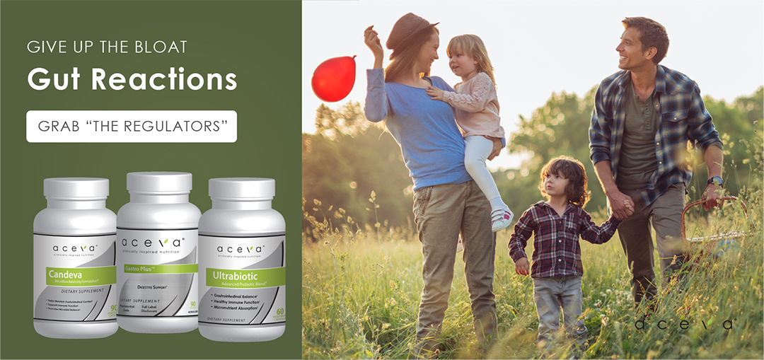 happy family in the fields with a red balloon - aceva gut reactions - Ultrabiotic, Candeva, Gastro Plus