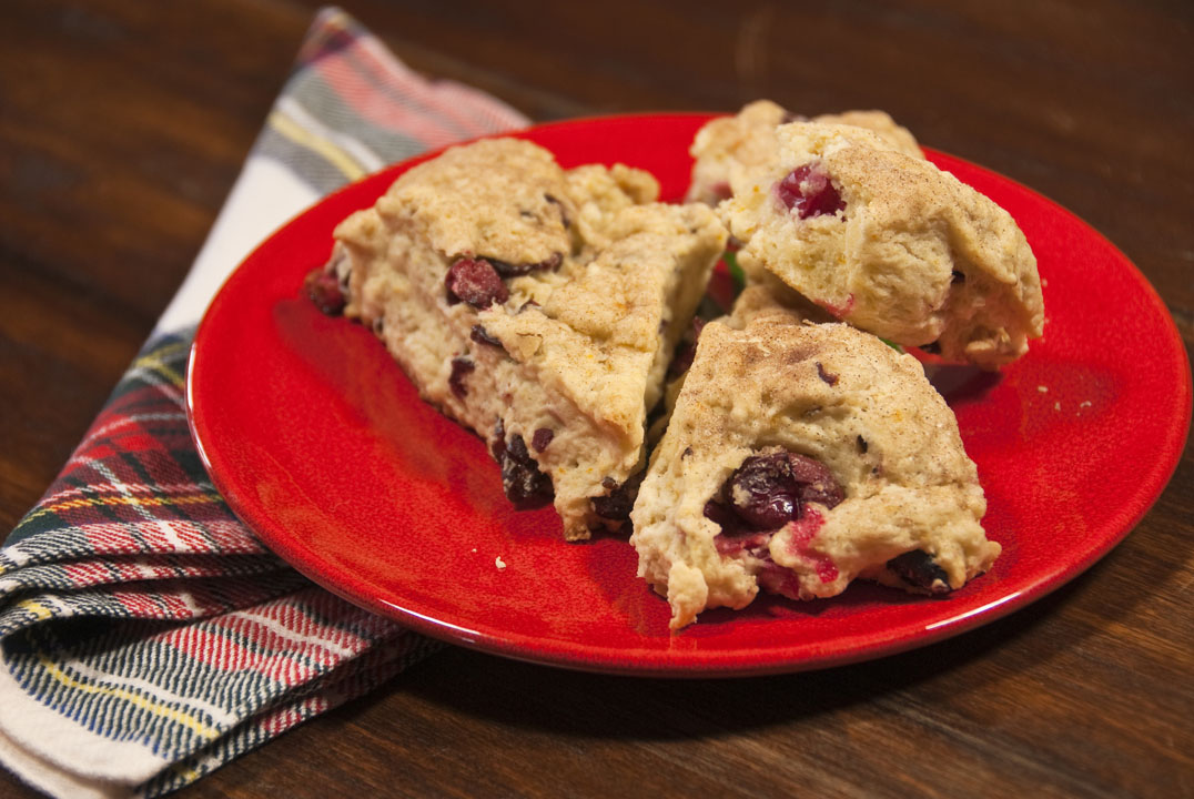Plate of Freshly Baked Cranberry Scones