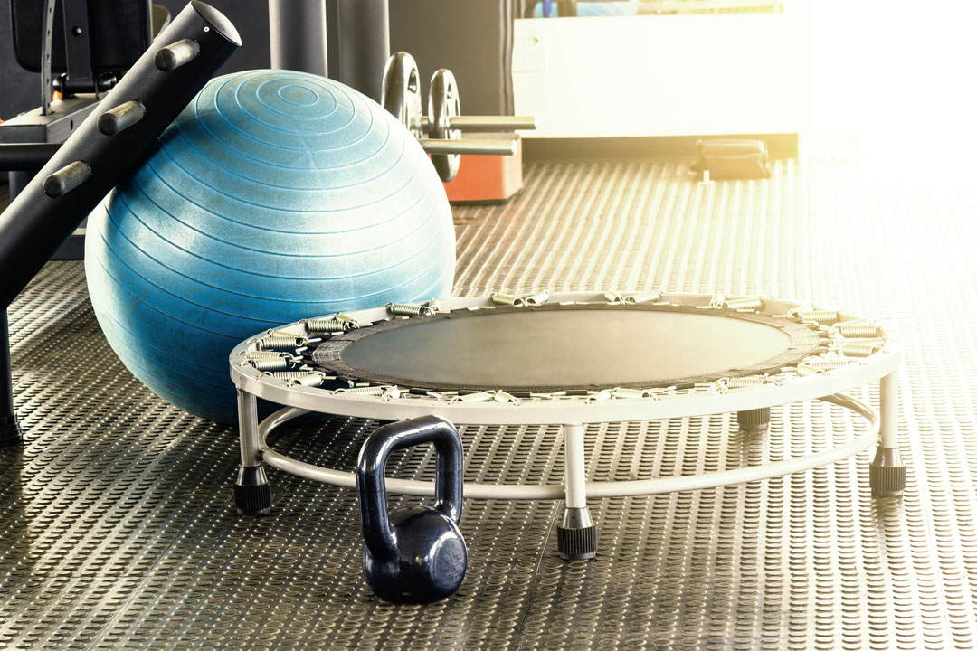 mini trampoline exercise ball and weights