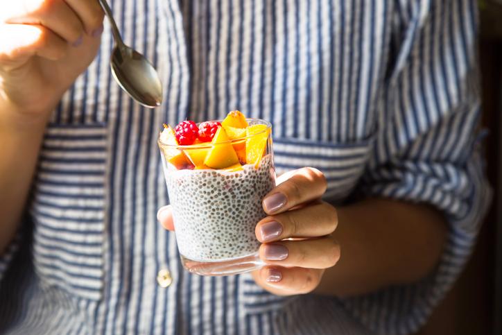 chia seed in yogurt with fruit
