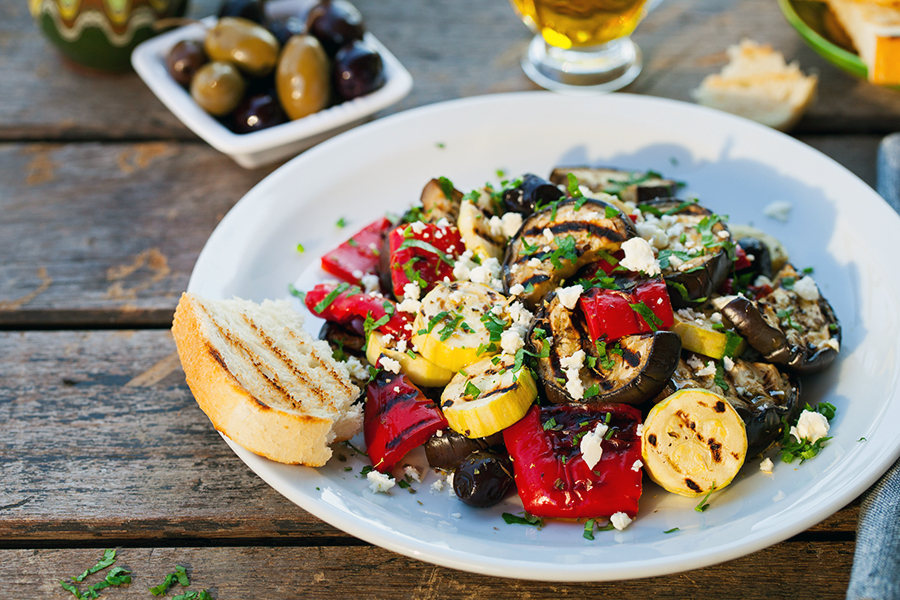 grilled eggplant recipe - veggie bowl - alignlife