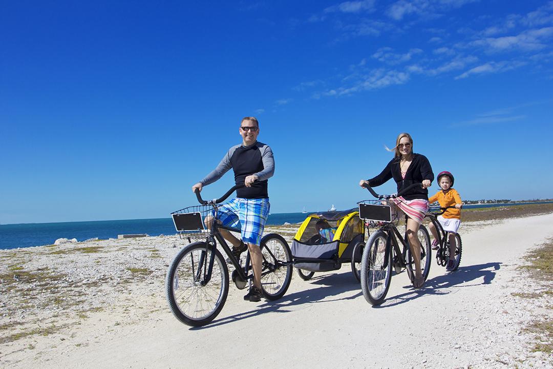 familia, andar en bicicleta, en, un, playa